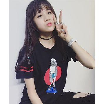 2016 Summer New  Skater Girl Printed Loose Casual College Wind Short Sleeve Female T-shirt