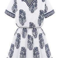 White Floral Print Short Sleeve Flounce Dress
