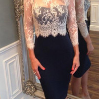 White Long Sleeve Lace Bodycon Dress