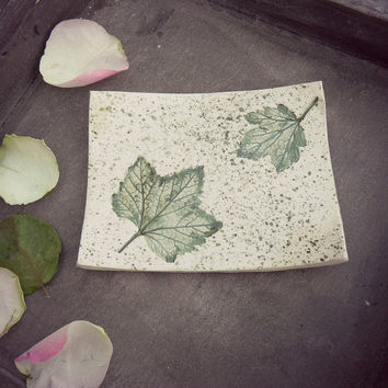 Fall Ceramic Dish Green Rustic Square Pottery Plate Autumn Leaf Jewelry Dish Soap Holder