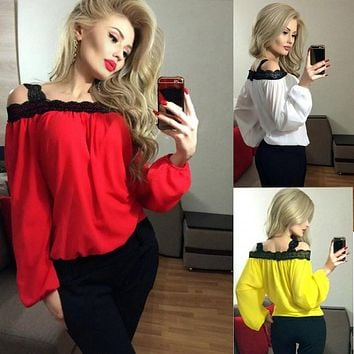 Blusas Femininas 2017 Autumn Spring Women Ladies Sexy Lace Chiffon Off Shoulder Tops Casual Long Sleeve Blouse Shirt Plus Size