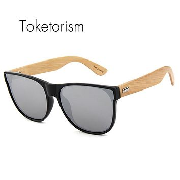 Toketorism Fashion Bamboo Sunglasses Mirror Coating Flat Panel Lens bambu wood oculos de sol feminino masculino 513