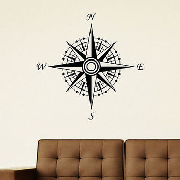 WALL DECAL VINYL STICKER WIND ROSE COMPASS TRAVEL GEOGRAPHY DECOR SB683