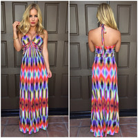 Sky Saadet Halter Maxi Dress