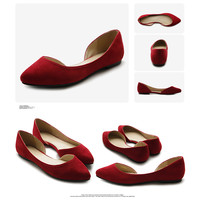 ollio Womens D'orsay Shoes Comfort Faux suede Pointed Toe Ballets Flats