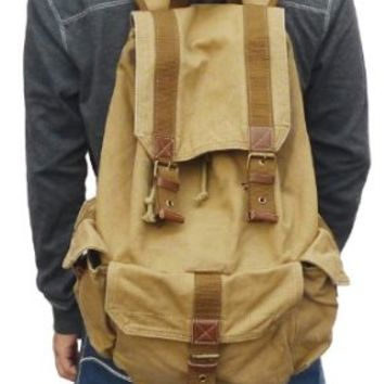 Gootium 21101KA Specially High Density Thick Canvas Backpack Rucksack,Khaki
