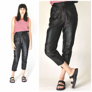 high waisted pleated black leather trousers size 26