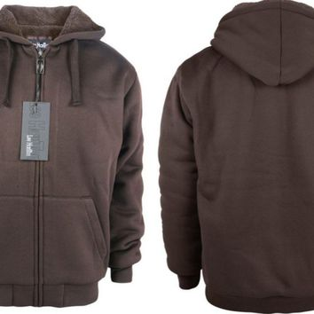 men's fleece hoodie with sherpa lining - coffee Case of 12