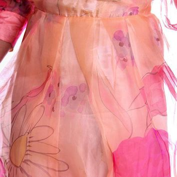 Vintage Annie Corvall Silk Chiffon Fantasy Evening Gown 1980s Pinks Floaty 10-12