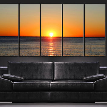 Large Wall Art Canvas Colorful Sunset on Sea, Ocean Landscape Canvas Art Prints For Wall - Sea View Large Art Canvas Printing - MC136
