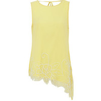 18 and East Yellow Asymetric Beaded Top