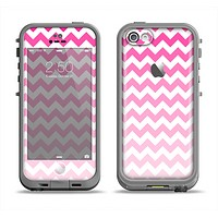 The Pink & White Ombre Chevron Pattern Apple iPhone 5c LifeProof Fre Case Skin Set