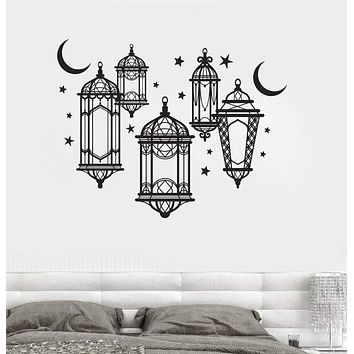 Vinyl Wall Decal Lamp Light Moon Stars Bedroom Art Stickers Unique Gift (ig4046)