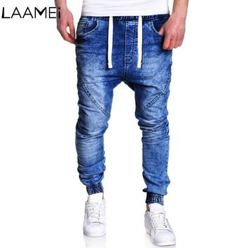 Laamei HipHop Men Jean New Harem Jeans Stretch Pants Retro Male Jean Stretch Pencil Jogger Casual Streetwear Trousers For Men