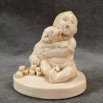 Vintage Catherine McCullough Figure – Puppy Dog Licking Baby – Adorable Old Figurine