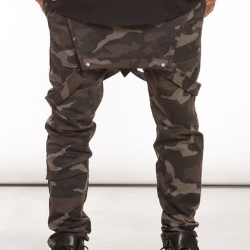 Camo Elastic Waist Tapered Overalls