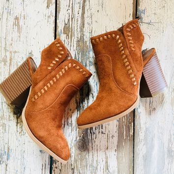 Whipped Stitch Suede Booties