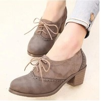 New spring platform shoes woman oxford shoes female med heels leather working shoes Brogues Leisure vintage women brand Shoes-in Women's Flats from Shoes on Aliexpress.com | Alibaba Group