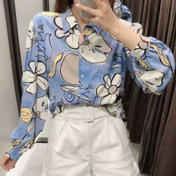 Autumn loose sleeve print blouse top