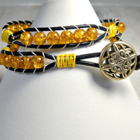 Double Wrap Bracelet, Wrap Around, Wrap Bracelet,Honey Cracked Leather Wrap