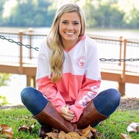 V-Neck Hoodie in Pink Salmon by The Southern Shirt Co.