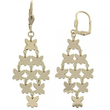 Gold Layered 02.63.2212 Chandelier Earring, Butterfly Design, Polished Finish, Gold Tone