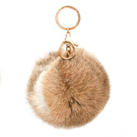 Brown Pom Pom & Charms Key Chain