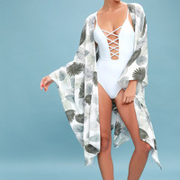 Watch and Fern White and Green Leaf Print Kimono Top