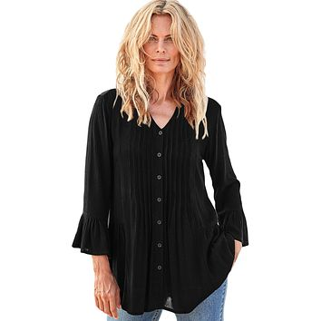 Black Flounce Crinkle Button Down Tunic Top