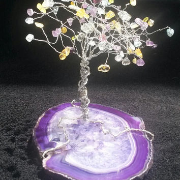 Multi Crystal Agate Free Standing Tree of Life