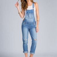 Cross Me Distressed Denim Overalls