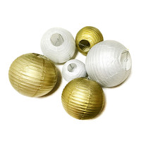 "Wedding Decoration Paper Lantern 8"",10"",12"", or 14 Inch Gold or Silver"