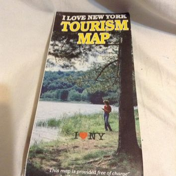 Vintage Map I Love New York Tourism Map 1980's