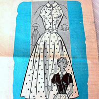 1950s Halter Dress Pattern Anne Adams Rockabille Dress, Short Jacket Misses Size 14 Full Skirt Dress Pattern
