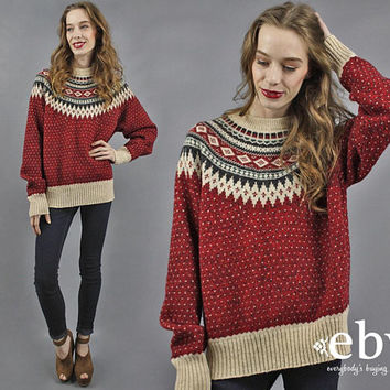 Woolrich Sweater Nordic Sweater Fair Isle Sweater Ski Sweater Heart Sweater Boho Sweater Nordic Jumper Wool Jumper 70s Sweater XL