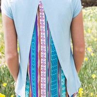 Open Fields Dusty Mint Tribal Print Open Back Short Sleeve Top