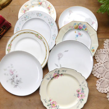 Mismatched Dishes China Small Bread Plates Set of 8