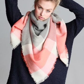 Blanket Scarf (Coral & Gray Color Block)