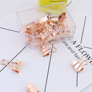 TUTU 15/25pcs Solid Color Rose Gold Metal Binder Clips Notes Letter Paper Clip Office Supplies H0134