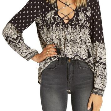 Billabong Just a Dream Print Lace-Up Peasant Top | Nordstrom