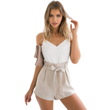 Summer white v neck girls elegant jumpsuit romper Women bow one piece casual playsuit Sexy backless high waist short overalls