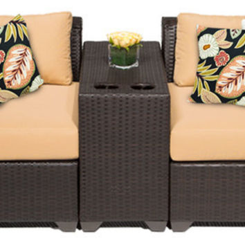 2017 All Weather 3 Piece Outdoor Wicker Patio Chatting Chairs Set