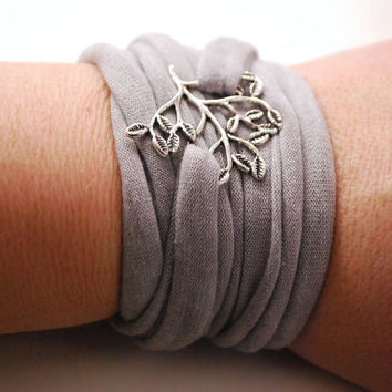 TREE Pendant Wrap Bracelet Light GRAY Stretch Wrist Bracelet Fashion accessory Women Teens Wrist Tattoo Cover