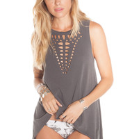 AMUSE - Die Cut Tunic / Charcoal