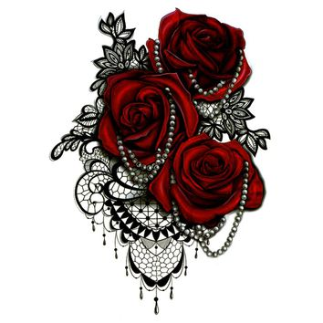 5pcs Big Red Rose Waterproof Temporary Tattoos men necklace harajuku fake tattoo seleeve tatoo henna body feminino tatouage