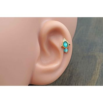 Pharaoh Triangle Teal Opal Gold Cartilage Earring Tragus Helix Piercing