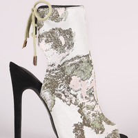 Embroidered Peep Toe Back Lace Up Stiletto Mule Booties