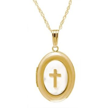 New England Locket 14K Yellow Gold Mother of Pearl 18-Inch Chain Oval Cross Locket Necklace