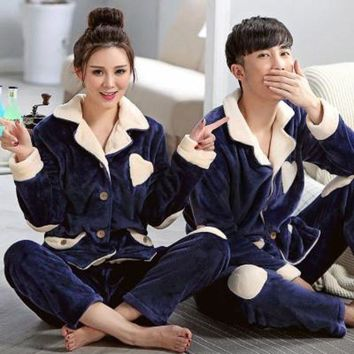 CREYCI7 Lovers Casual Pajamas Set For Women Men Navy Blue Nightgown Winter Pyjamas Thick Flannel Turn-down Collar Sleepwear Unisex Adult