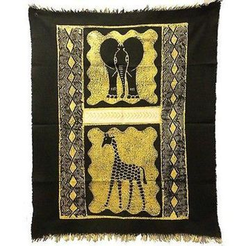 Elephant and Giraffe Batik in Black/White - Tonga Textiles